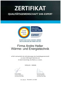 SHK Expert Zertifikat